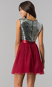 Image of short homecoming dress in burgundy red and silver. Style: LP-24213B Back Image