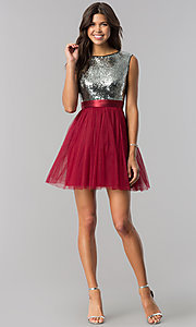 Image of short homecoming dress in burgundy red and silver. Style: LP-24213B Detail Image 1