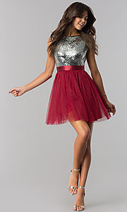 Image of short homecoming dress in burgundy red and silver. Style: LP-24213B Detail Image 2
