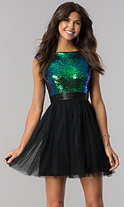 Image of sequin-bodice short homecoming dress with black tulle. Style: LP-24213M Front Image