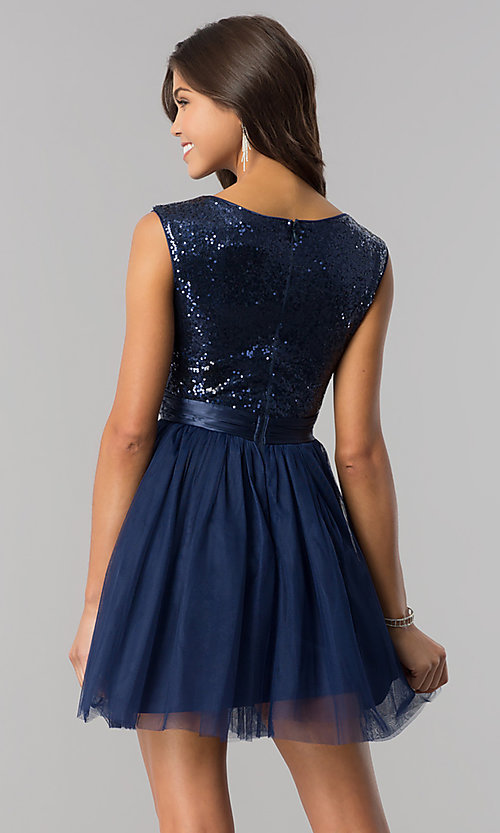Image of navy blue sequin-bodice short homecoming dress. Style: LP-24213 Back Image