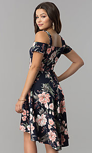 Image of pink-print short high-low navy wedding-guest dress. Style: MB-7178 Back Image