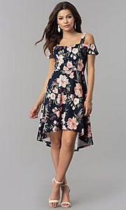 Image of pink-print short high-low navy wedding-guest dress. Style: MB-7178 Detail Image 1