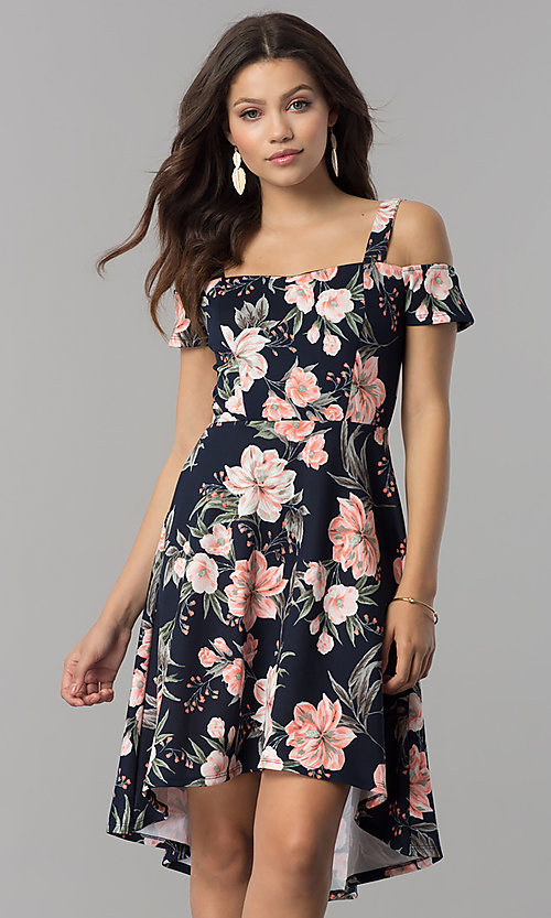 Image of pink-print short high-low navy wedding-guest dress. Style: MB-7178 Front Image