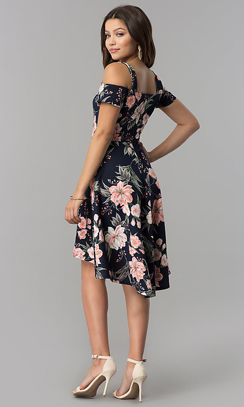 Image of pink-print short high-low navy wedding-guest dress. Style: MB-7178 Detail Image 2