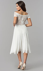 Image of lace-bodice tea-length chiffon wedding-guest dress. Style: MB-7184 Back Image