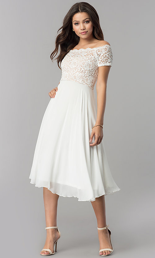 Image of lace-bodice tea-length chiffon wedding-guest dress. Style: MB-7184 Detail Image 1