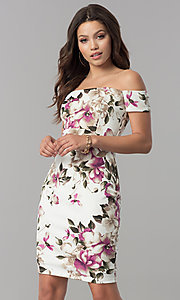 Short Off-the-Shoulder Print Wedding-Guest Dress