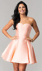 Image of short homecoming dress with removable sheer overlay. Style: JT-774 Detail Image 2