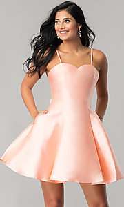 Image of short homecoming dress with removable sheer overlay. Style: JT-774 Detail Image 3