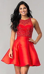 Image of short homecoming dress with removable sheer overlay. Style: JT-774 Front Image
