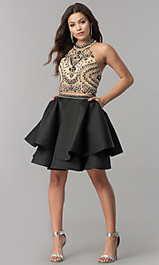 Image of short two-piece halter homecoming dress with pockets. Style: JT-777 Detail Image 2