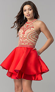 Image of short two-piece halter homecoming dress with pockets. Style: JT-777 Front Image