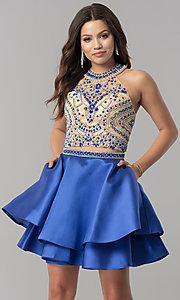 Image of short two-piece halter homecoming dress with pockets. Style: JT-777 Detail Image 3