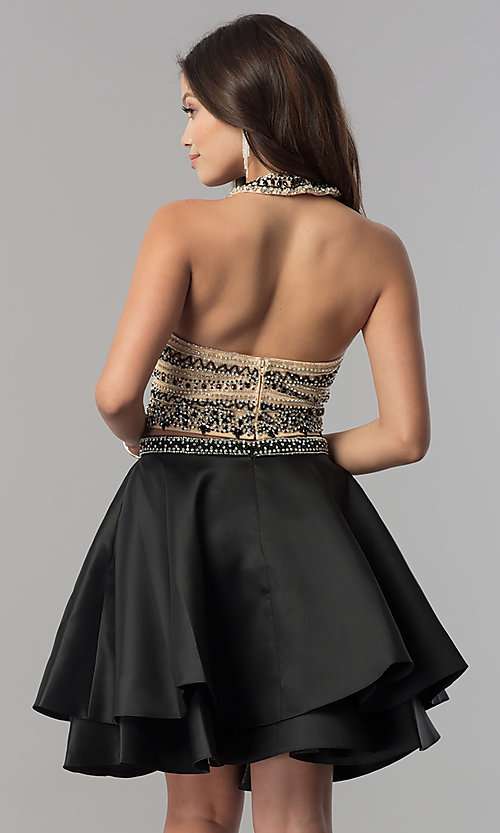 Image of short two-piece halter homecoming dress with pockets. Style: JT-777 Back Image