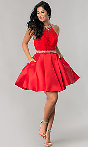 Image of short lace-bodice homecoming dress with pockets. Style: JT-781 Detail Image 3