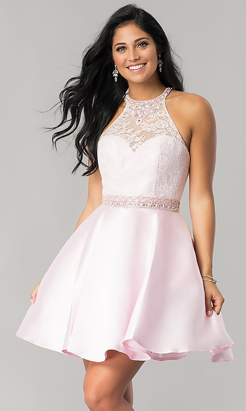 Image of short lace-bodice homecoming dress with pockets. Style: JT-781 Detail Image 1
