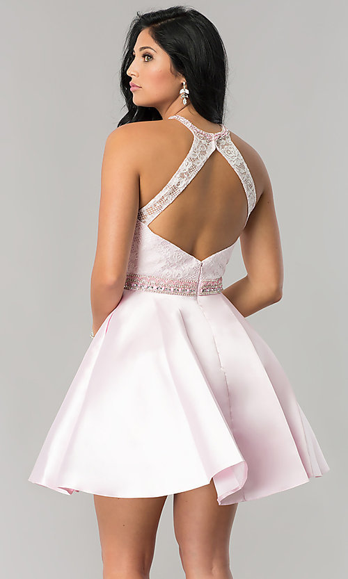 Image of short lace-bodice homecoming dress with pockets. Style: JT-781 Back Image