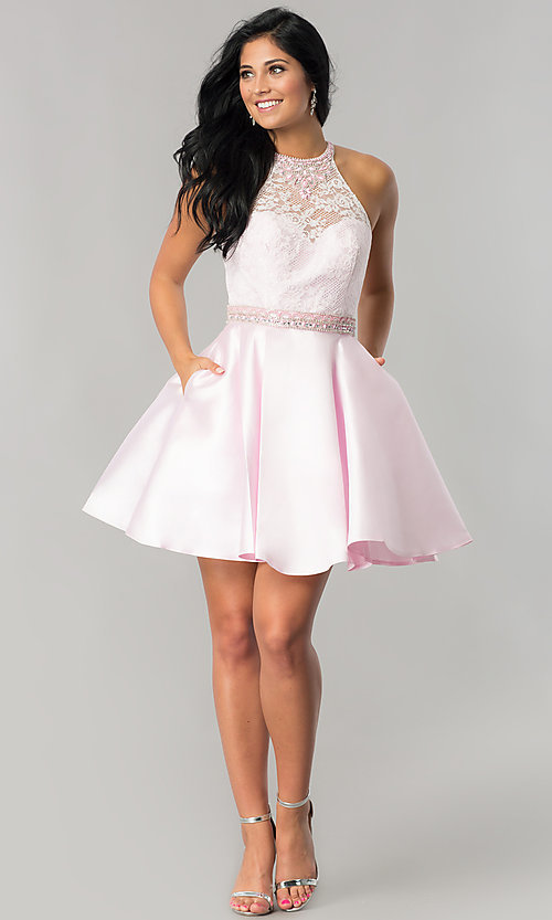 Image of short lace-bodice homecoming dress with pockets. Style: JT-781 Detail Image 2