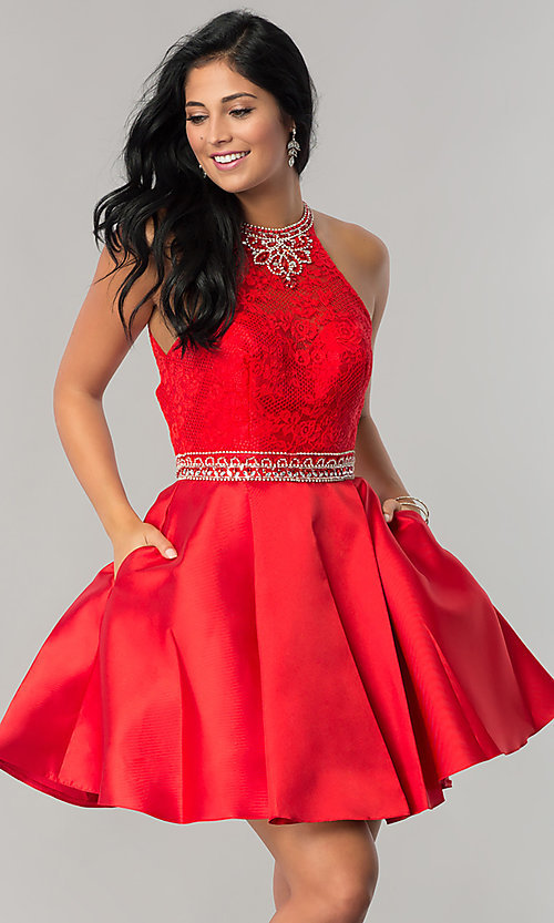 Image of short lace-bodice homecoming dress with pockets. Style: JT-781 Front Image