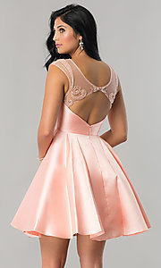 Image of semi-formal short satin party dress in blush pink. Style: JT-783 Back Image