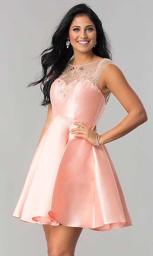 Image of semi-formal short satin party dress in blush pink. Style: JT-783 Front Image