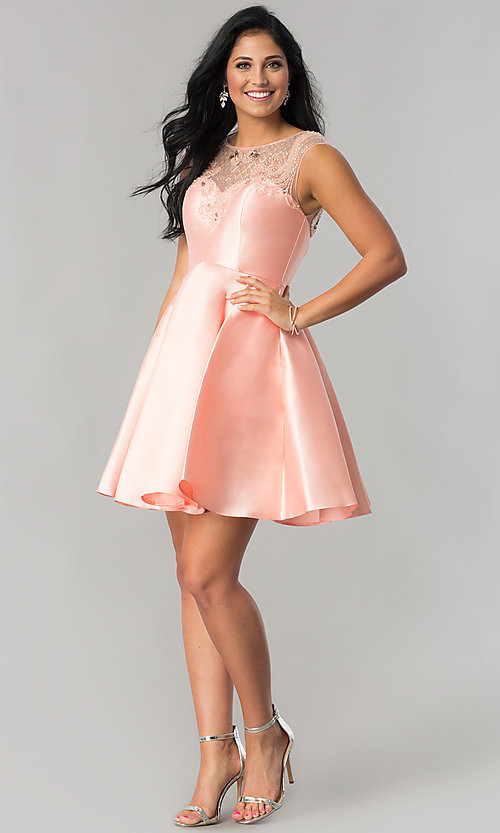 Image of semi-formal short satin party dress in blush pink. Style: JT-783 Detail Image 1