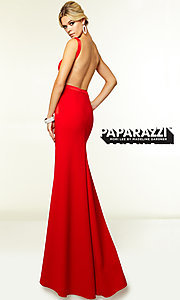 Image of Mori Lee long open-back prom dress with pockets. Style: ML-97099-v Back Image