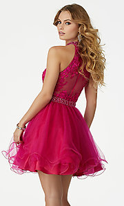 Image of fuchsia pink short homecoming dress by Mori Lee. Style: ML-33034 Back Image