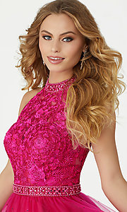 Image of fuchsia pink short homecoming dress by Mori Lee. Style: ML-33034 Detail Image 1