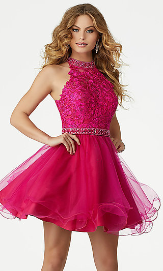 Fuchsia Pink Short Homecoming Dress by Mori Lee