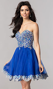 Image of strapless short royal blue homecoming party dress. Style: FB-GS2380 Front Image