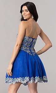 Image of strapless short royal blue homecoming party dress. Style: FB-GS2380 Back Image