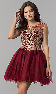 Short Tulle Homecoming Dress with Lace Applique