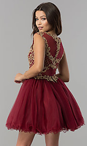Image of short tulle homecoming dress with lace applique. Style: FB-GS2381 Back Image