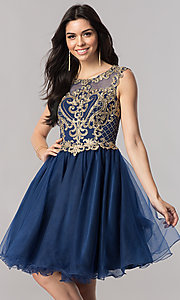 Image of short tulle homecoming dress with lace applique. Style: FB-GS2381 Detail Image 2