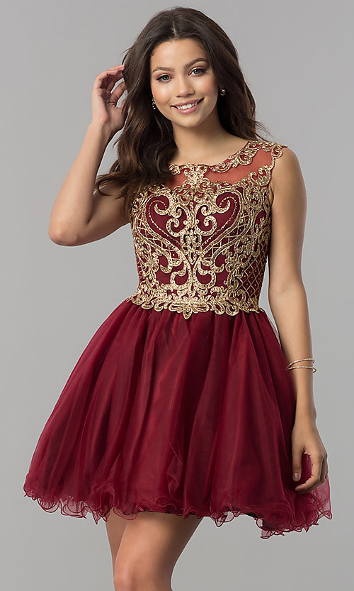 Image of short tulle homecoming dress with lace applique. Style: FB-GS2381 Front Image