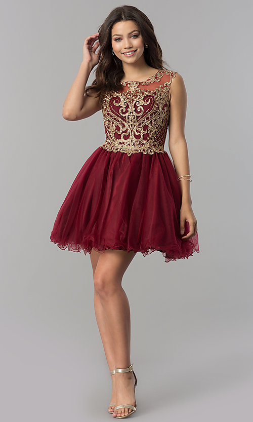 Image of short tulle homecoming dress with lace applique. Style: FB-GS2381 Detail Image 1