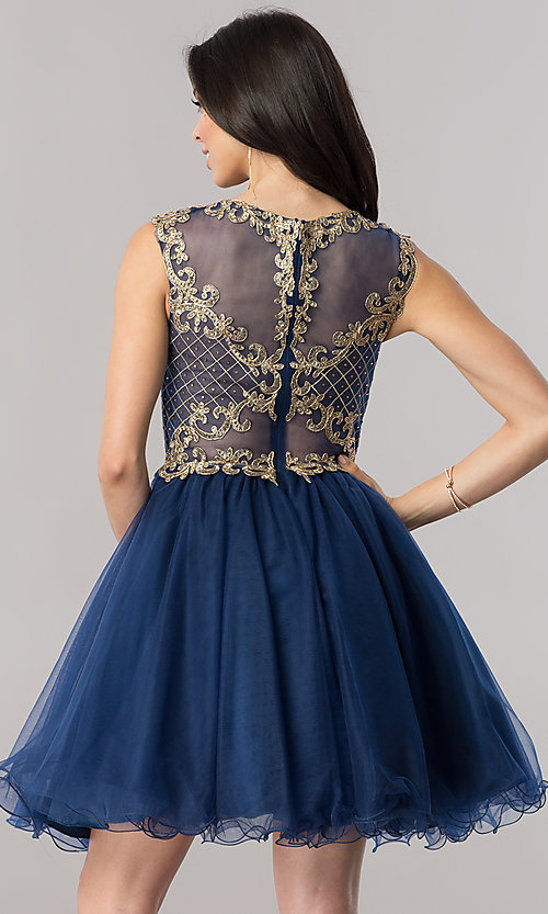Image of short tulle homecoming dress with lace applique. Style: FB-GS2381 Detail Image 3