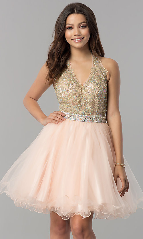 Image of halter short homecoming dress with v-neckline. Style: FB-GS2382 Front Image