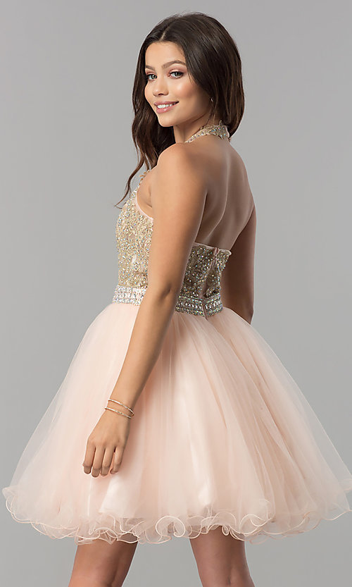 Image of halter short homecoming dress with v-neckline. Style: FB-GS2382 Back Image