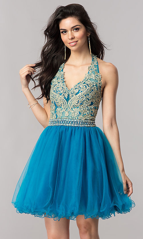 Image of halter short homecoming dress with v-neckline. Style: FB-GS2382 Detail Image 1