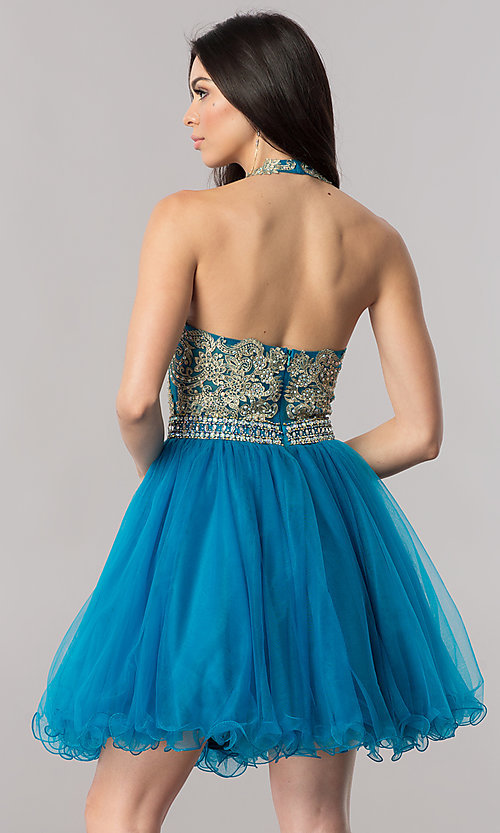 Image of halter short homecoming dress with v-neckline. Style: FB-GS2382 Detail Image 3