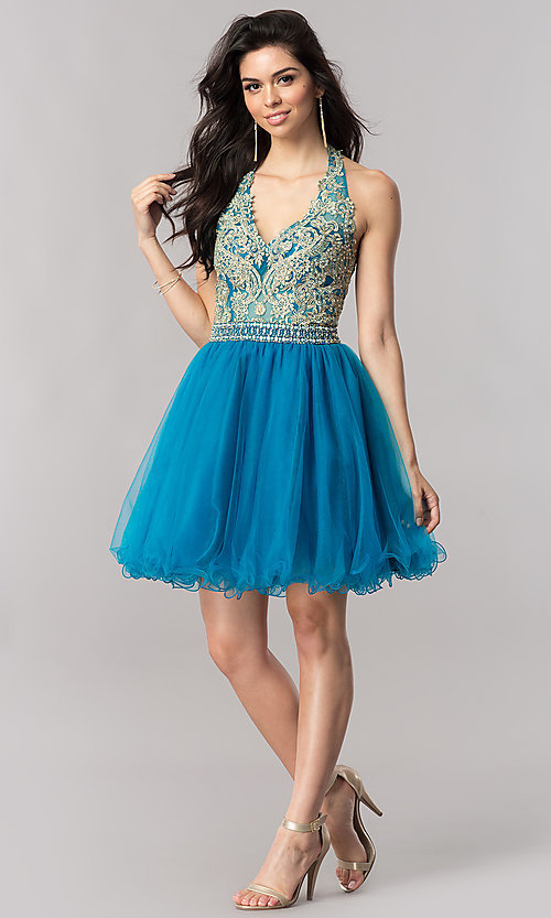 Image of halter short homecoming dress with v-neckline. Style: FB-GS2382 Detail Image 2