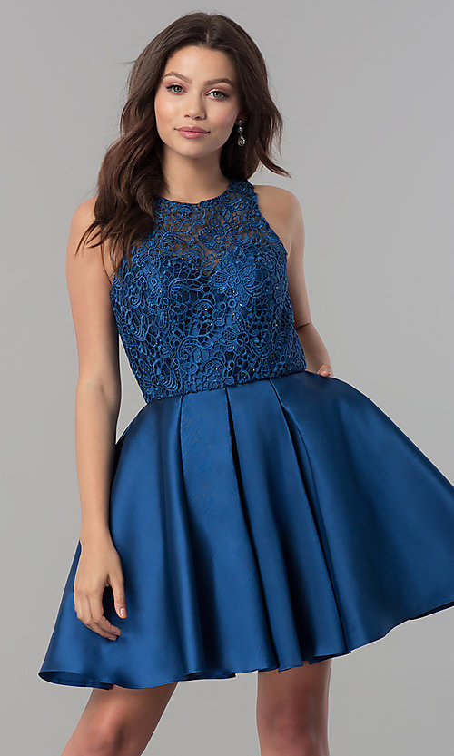 Image of short a-line satin homecoming dress with pockets. Style: FB-GS2383 Front Image