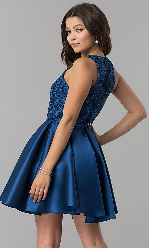 Image of short a-line satin homecoming dress with pockets. Style: FB-GS2383 Back Image