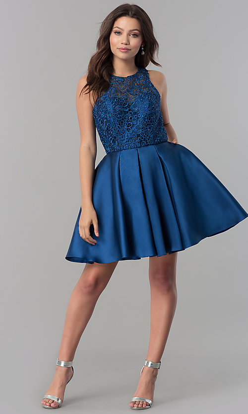 Image of short a-line satin homecoming dress with pockets. Style: FB-GS2383 Detail Image 1