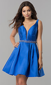 Short V-Neck Homecoming Dress with Beaded Waist