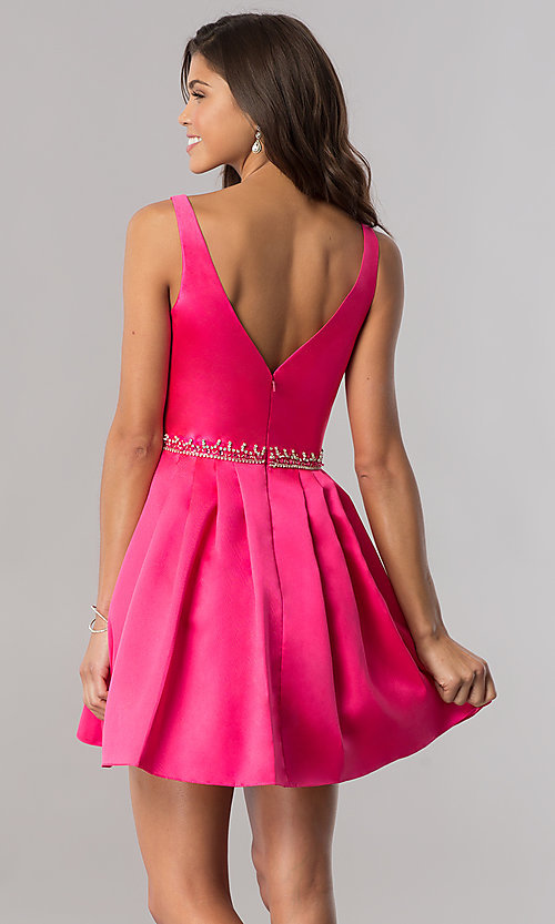 Image of short v-neck homecoming dress with beaded waist. Style: FB-GS2384 Back Image