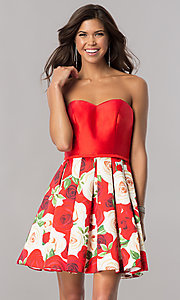 Image of short satin homecoming dress with floral-print skirt. Style: FB-GS2385 Front Image